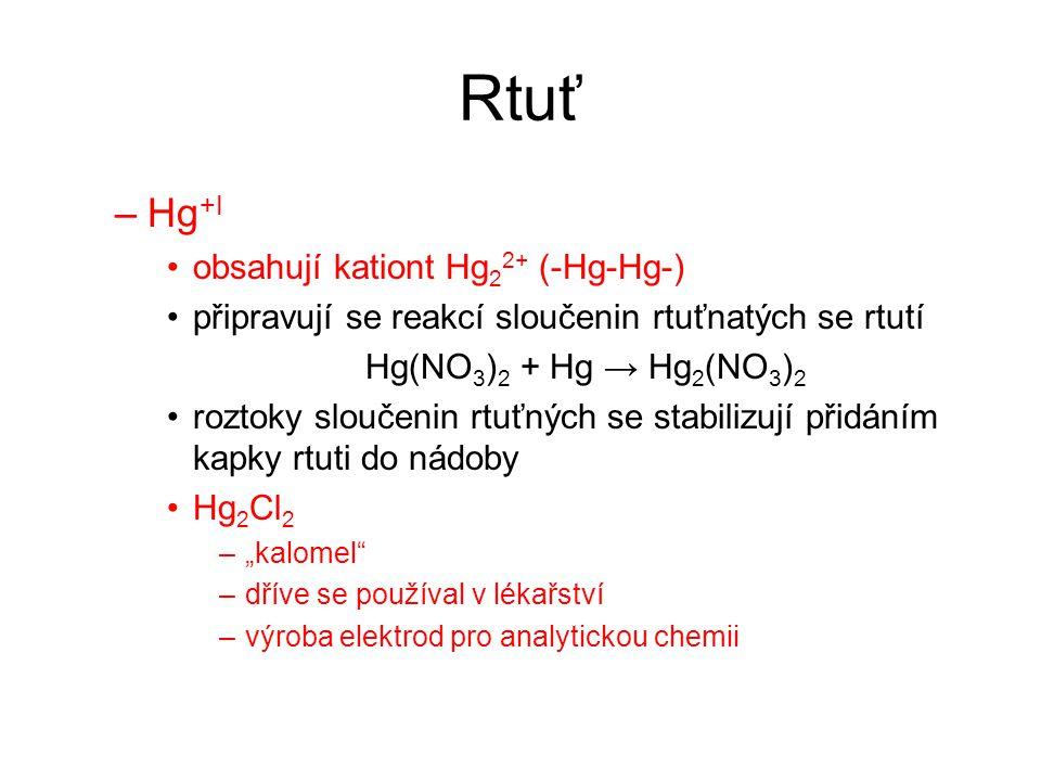 Rtuť Hg+I obsahují kationt Hg22+ (-Hg-Hg-)