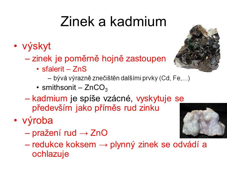Zinek a kadmium výskyt výroba zinek je poměrně hojně zastoupen
