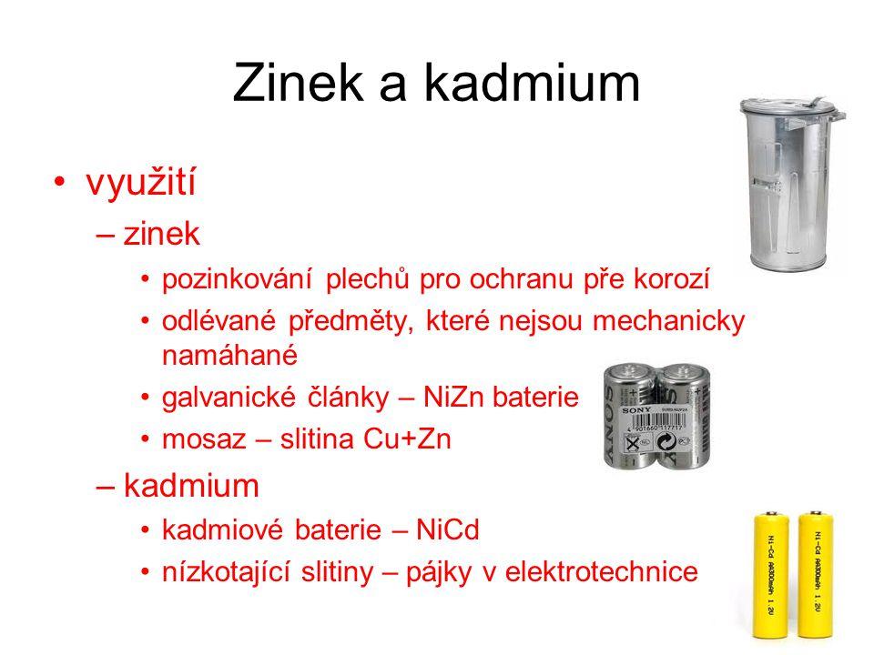 Zinek a kadmium využití zinek kadmium