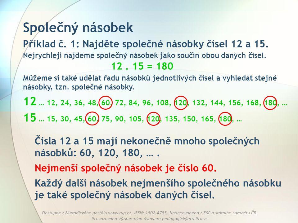 Společný násobek Příklad č. 1: Najděte společné násobky čísel 12 a 15. Nejrychleji najdeme společný násobek jako součin obou daných čísel.