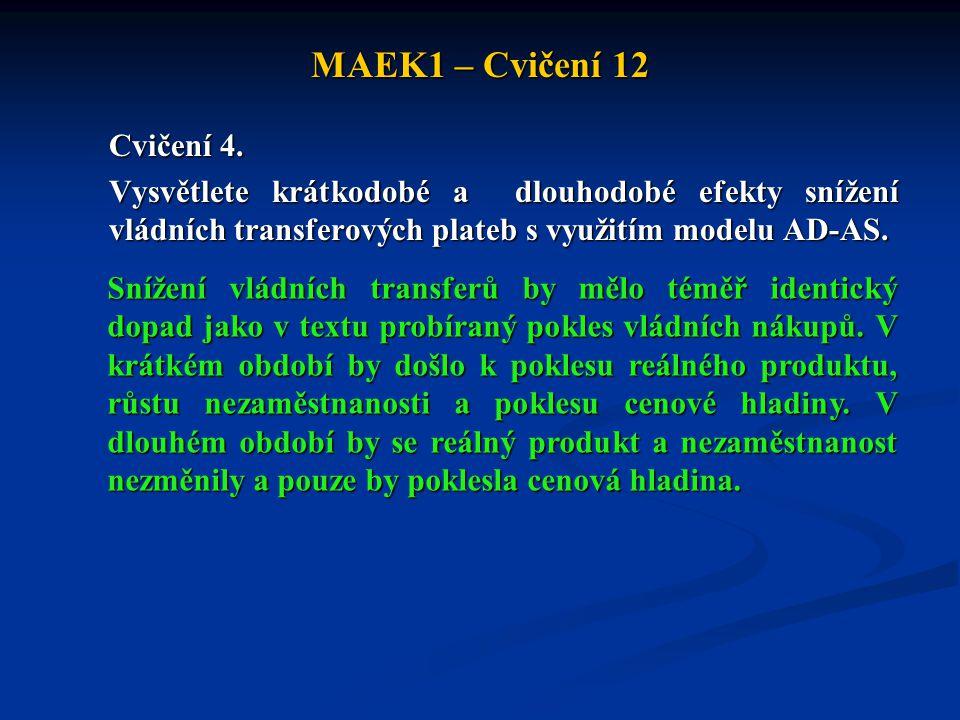 MAEK1 – Cvičení 12 Cvičení 4. Vysvětlete krátkodobé a dlouhodobé efekty snížení vládních transferových plateb s využitím modelu AD-AS.