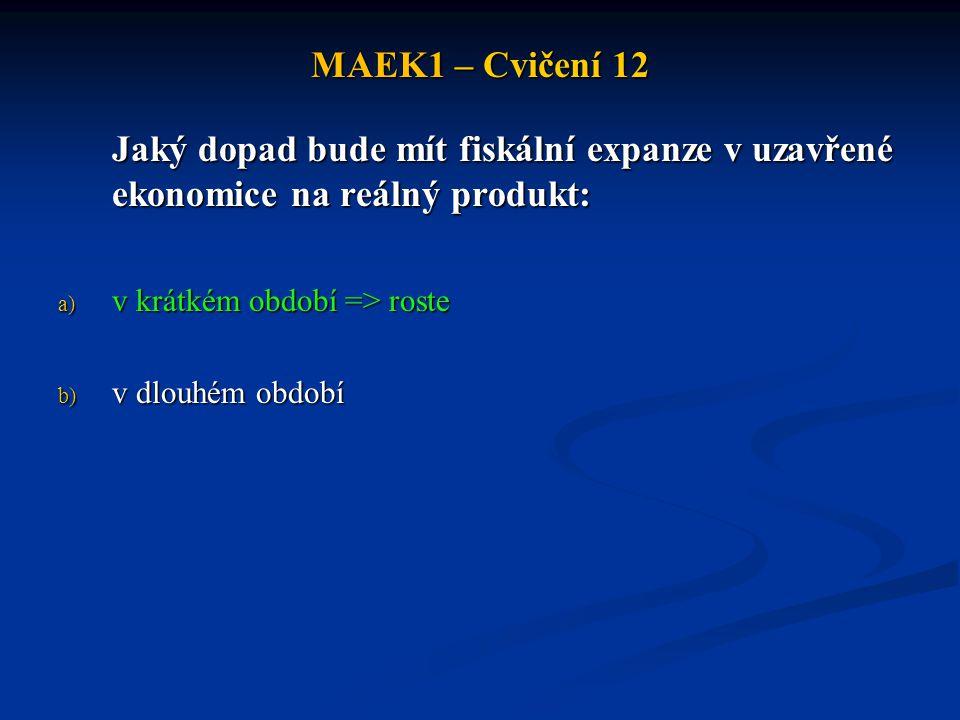 MAEK1 – Cvičení 12 Jaký dopad bude mít fiskální expanze v uzavřené ekonomice na reálný produkt: v krátkém období => roste.