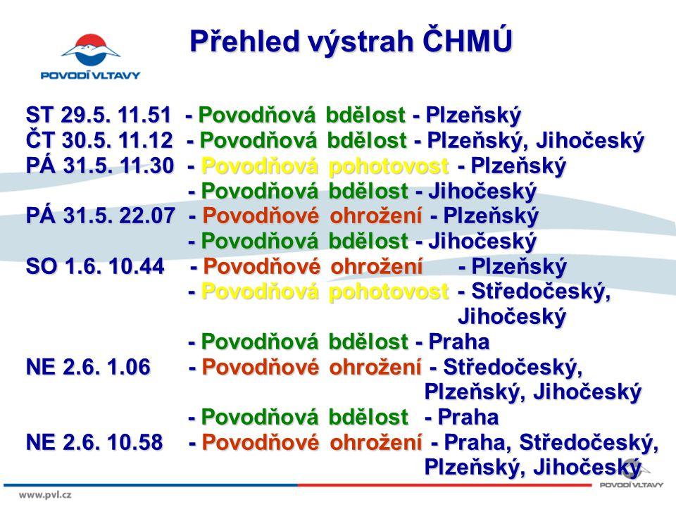 Přehled výstrah ČHMÚ ST 29.5. 11.51 - Povodňová bdělost - Plzeňský