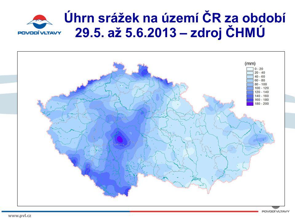 Úhrn srážek na území ČR za období 29.5. až 5.6.2013 – zdroj ČHMÚ