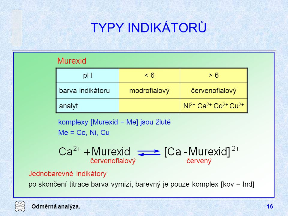 TYPY INDIKÁTORŮ Murexid pH < 6 > 6 barva indikátoru modrofialový
