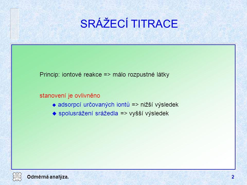 SRÁŽECÍ TITRACE Princip: iontové reakce => málo rozpustné látky