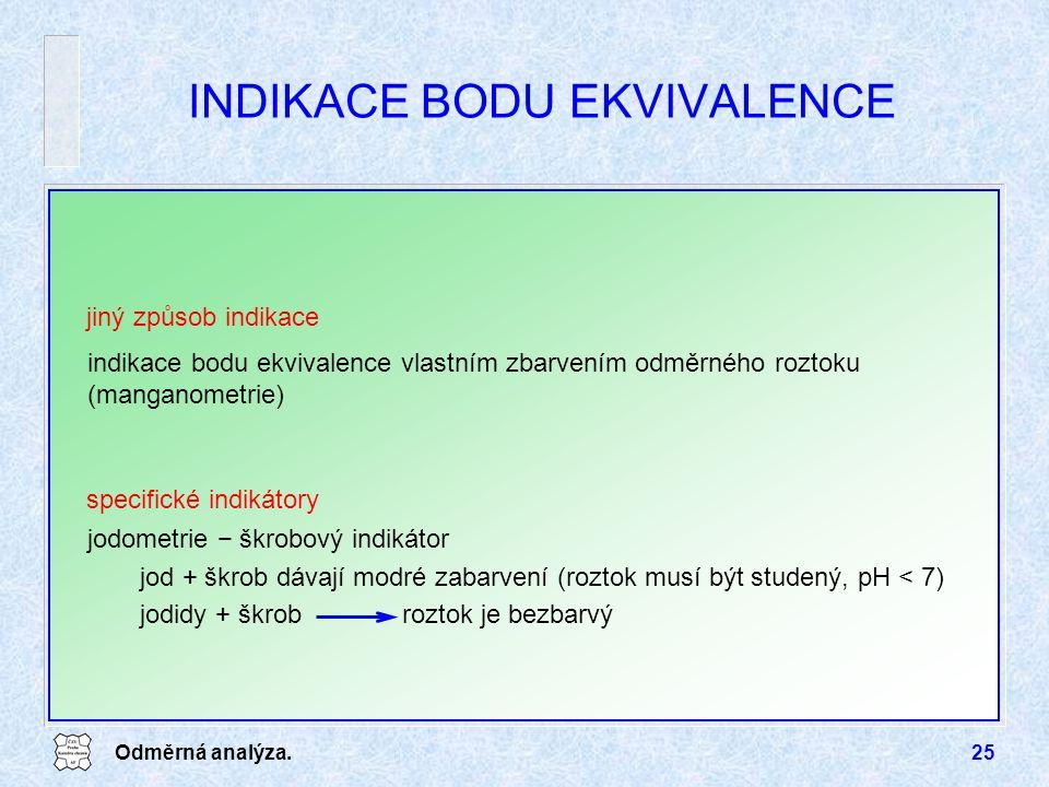 INDIKACE BODU EKVIVALENCE