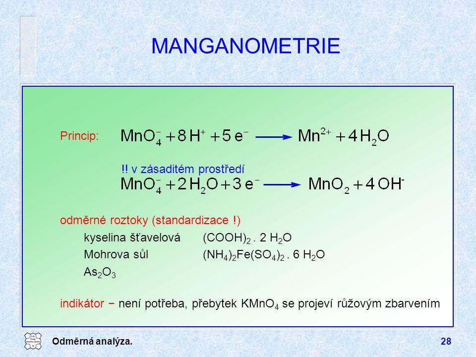 MANGANOMETRIE Princip: !! v zásaditém prostředí