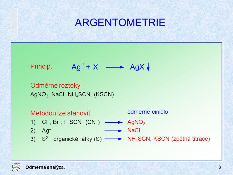 ARGENTOMETRIE AgX X Ag Princip: Odměrné roztoky Metodou lze stanovit