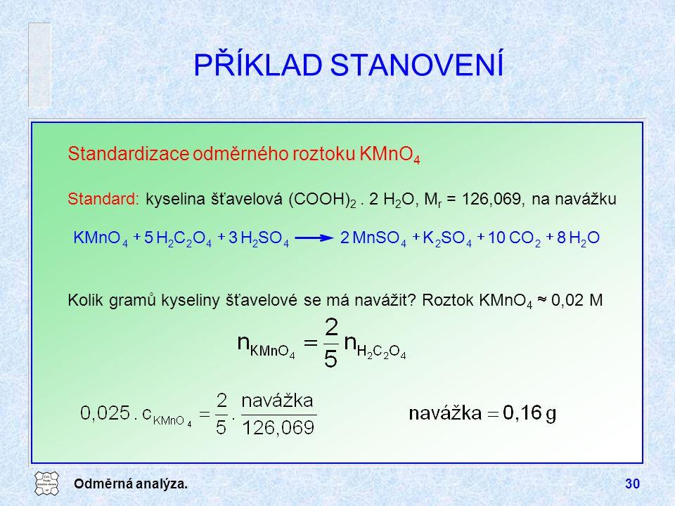 PŘÍKLAD STANOVENÍ Standardizace odměrného roztoku KMnO4