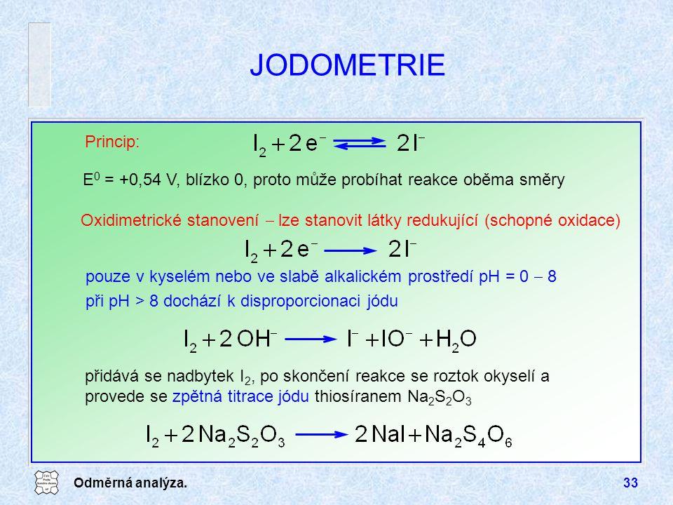 JODOMETRIE Princip: E0 = +0,54 V, blízko 0, proto může probíhat reakce oběma směry.