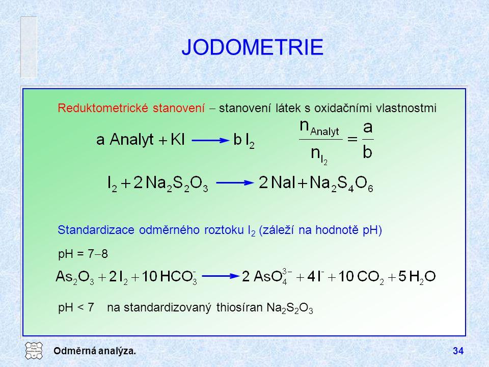 JODOMETRIE Reduktometrické stanovení  stanovení látek s oxidačními vlastnostmi. Standardizace odměrného roztoku I2 (záleží na hodnotě pH)