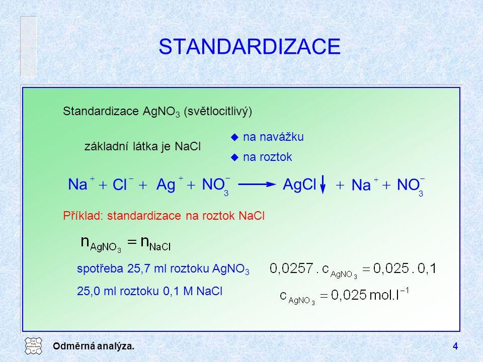 STANDARDIZACE AgCl NO Ag Na Cl Standardizace AgNO3 (světlocitlivý)
