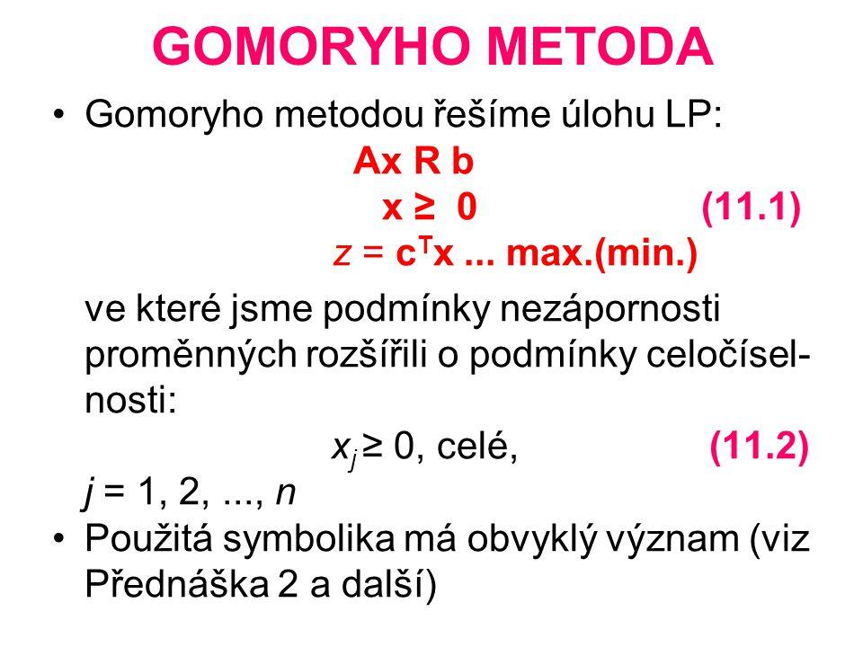 GOMORYHO METODA Gomoryho metodou řešíme úlohu LP: Ax R b x ≥ 0 (11.1)