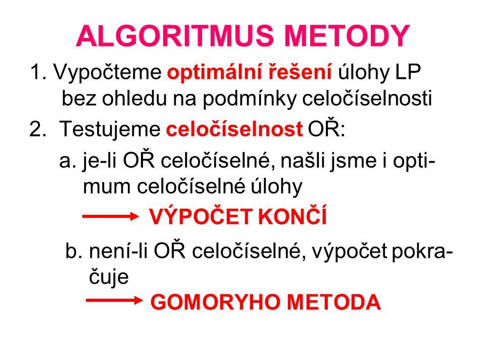 ALGORITMUS METODY 1. Vypočteme optimální řešení úlohy LP bez ohledu na podmínky celočíselnosti. 2. Testujeme celočíselnost OŘ: