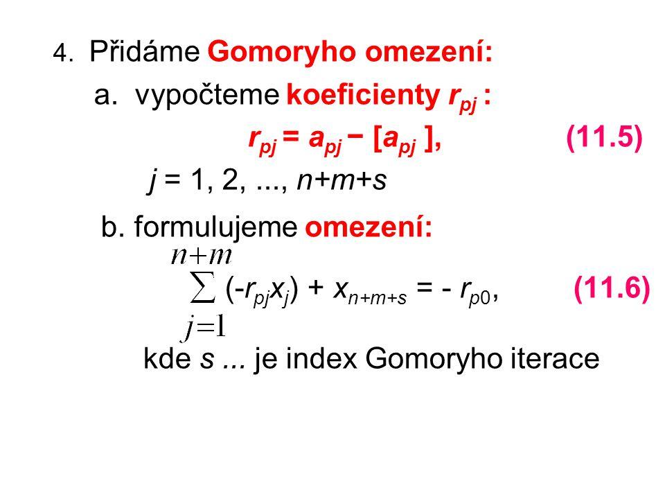 b. formulujeme omezení: