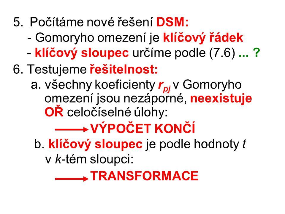 5. Počítáme nové řešení DSM: