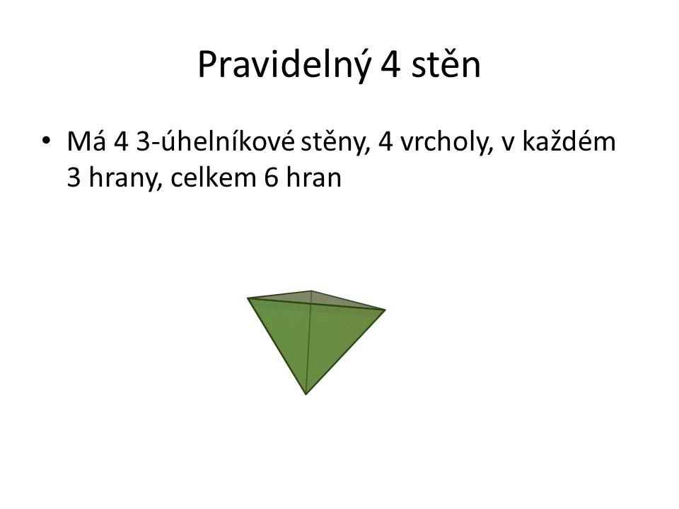 Pravidelný 4 stěn Má 4 3-úhelníkové stěny, 4 vrcholy, v každém 3 hrany, celkem 6 hran