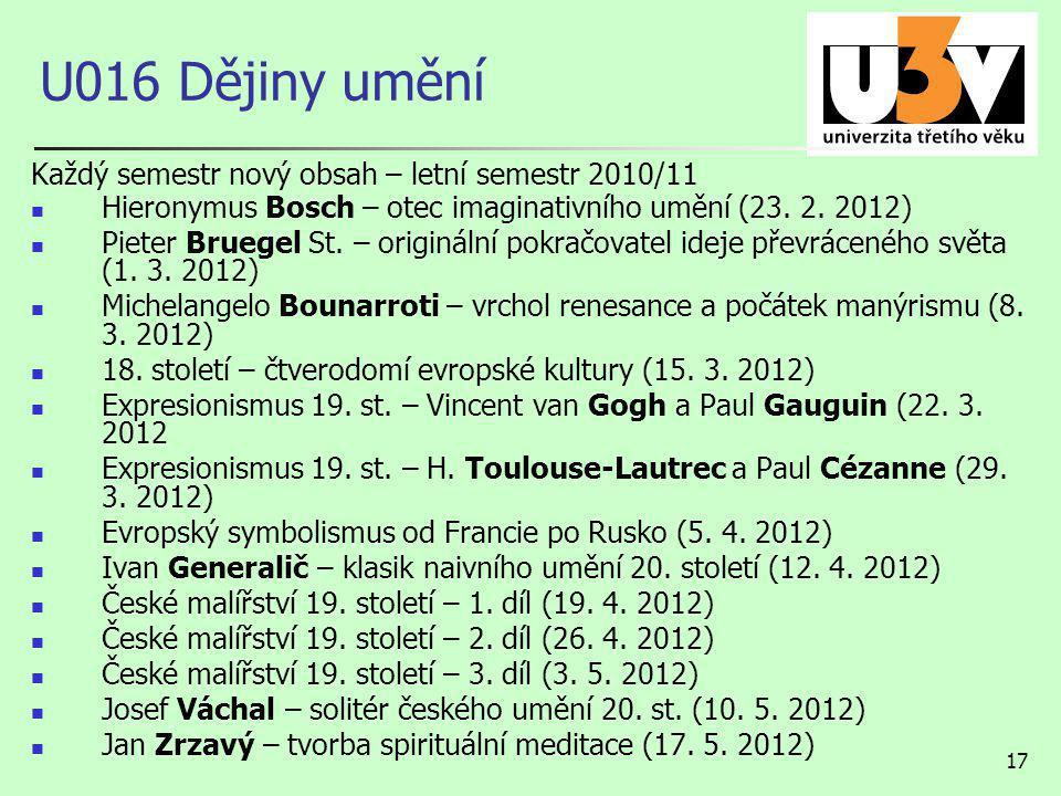 U016 Dějiny umění Každý semestr nový obsah – letní semestr 2010/11