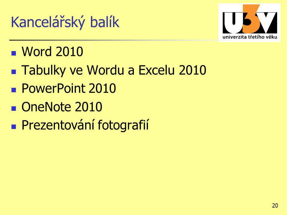 Kancelářský balík Word 2010 Tabulky ve Wordu a Excelu 2010