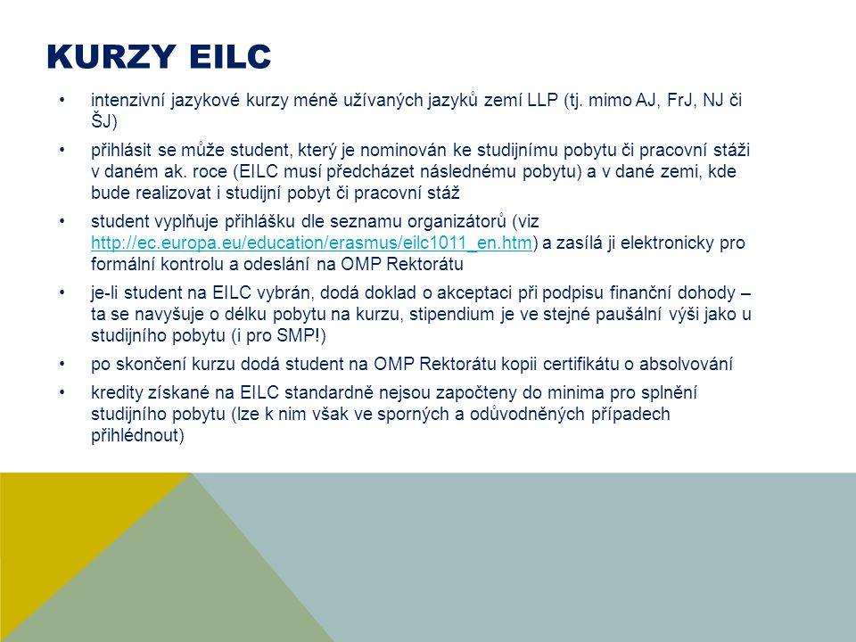 Kurzy EILC intenzivní jazykové kurzy méně užívaných jazyků zemí LLP (tj. mimo AJ, FrJ, NJ či ŠJ)