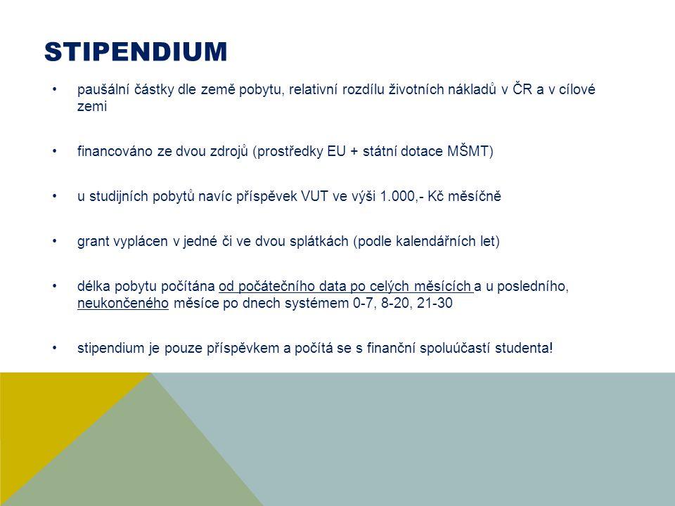 STIPENDIUM paušální částky dle země pobytu, relativní rozdílu životních nákladů v ČR a v cílové zemi.