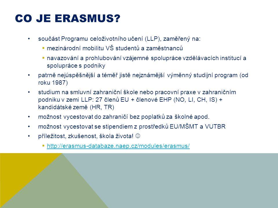 CO JE ERASMUS součást Programu celoživotního učení (LLP), zaměřený na: mezinárodní mobilitu VŠ studentů a zaměstnanců.