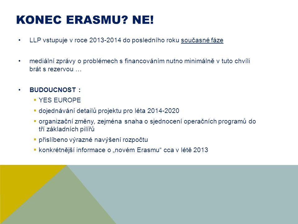 KONEC ErASMU NE! LLP vstupuje v roce 2013-2014 do posledního roku současné fáze.
