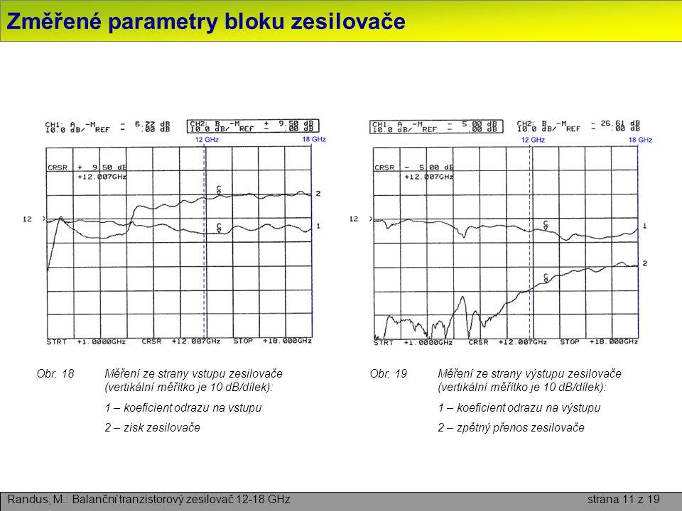 Změřené parametry bloku zesilovače