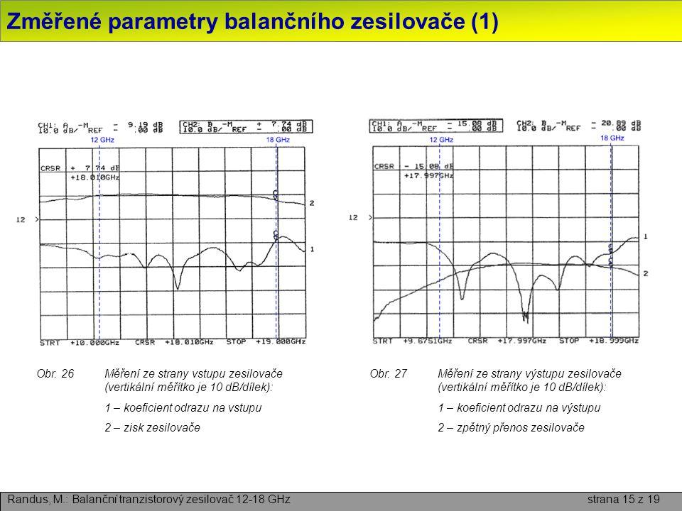 Změřené parametry balančního zesilovače (1)