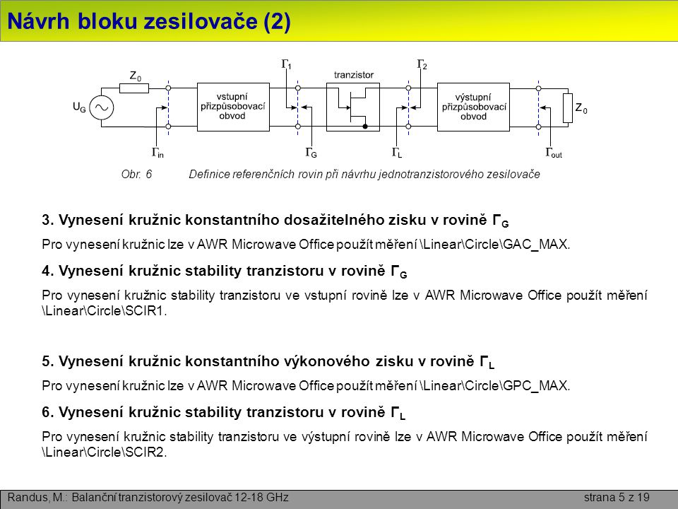 Návrh bloku zesilovače (2)