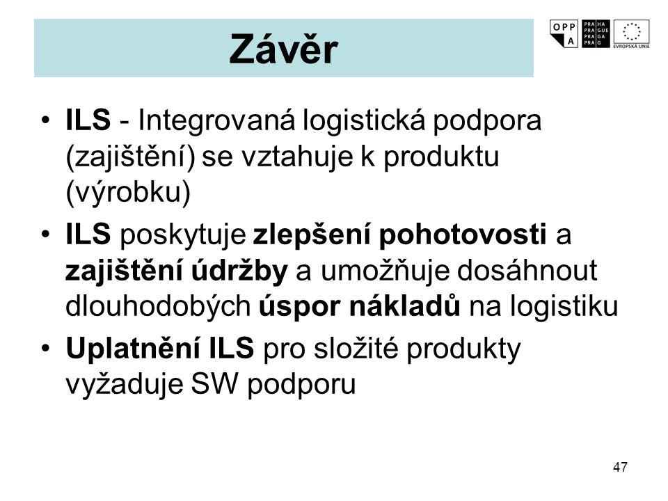 Závěr ILS - Integrovaná logistická podpora (zajištění) se vztahuje k produktu (výrobku)