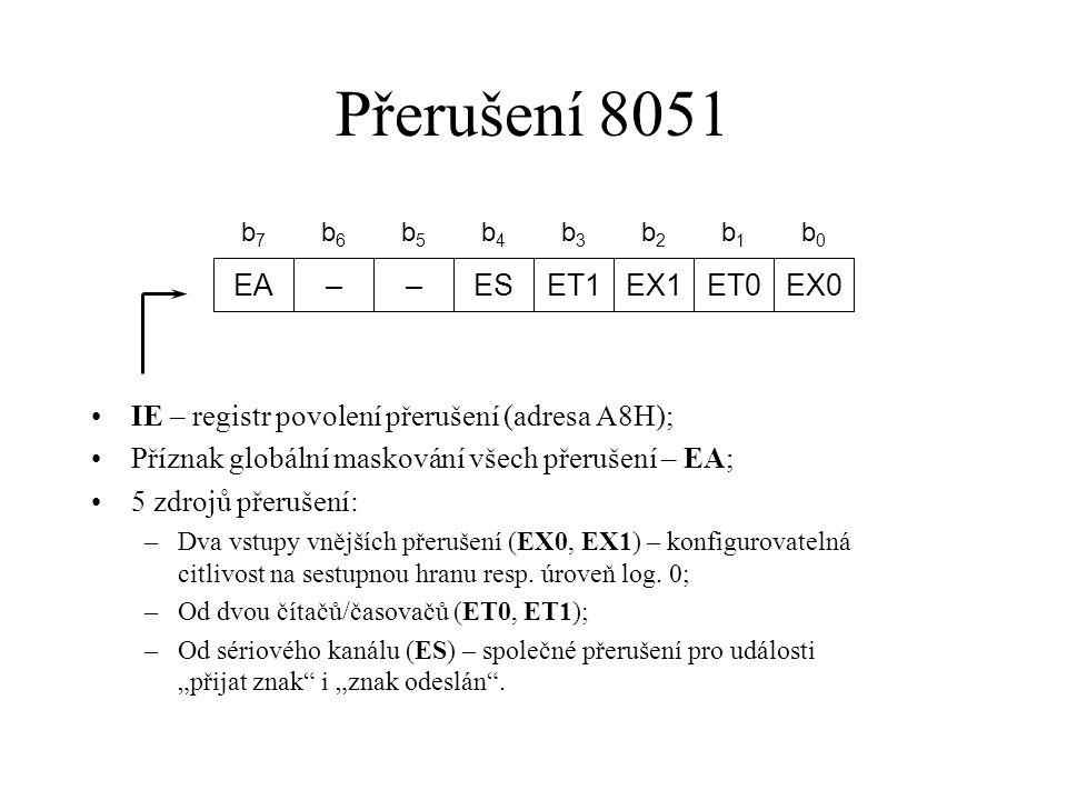 Přerušení 8051 EA – ES ET1 EX1 ET0 EX0