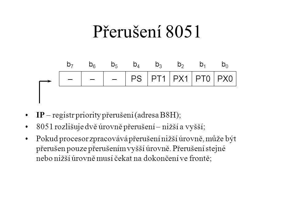 Přerušení 8051 – PS PT1 PX1 PT0 PX0