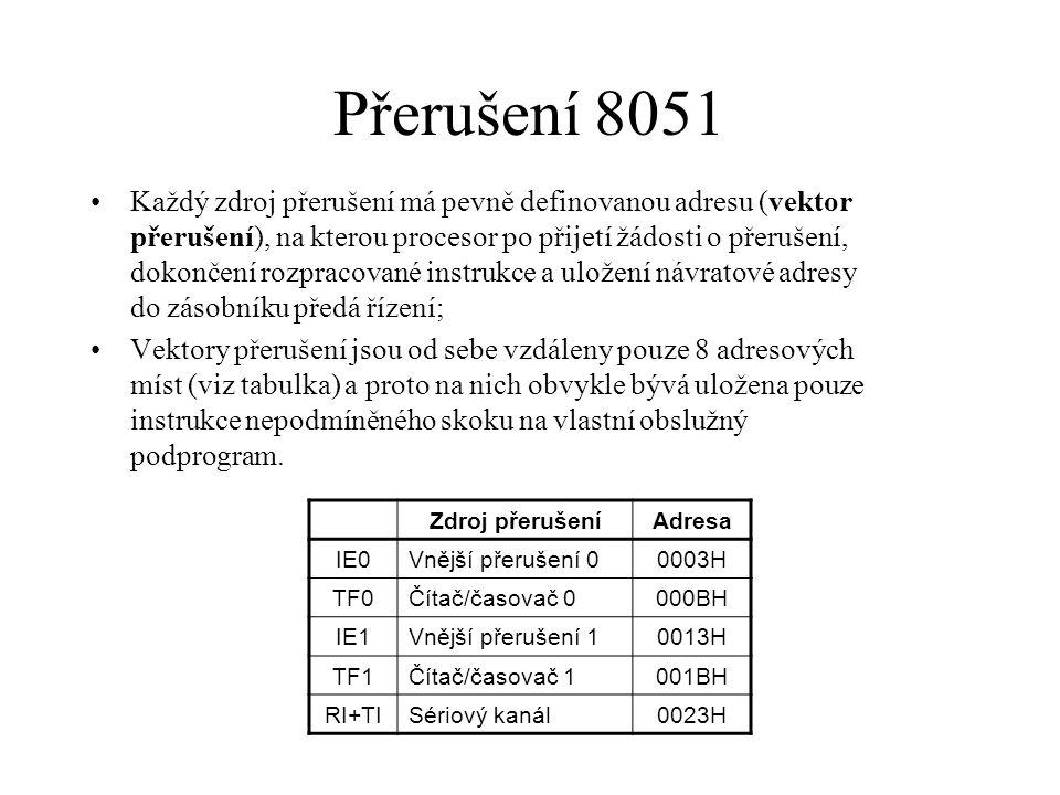 Přerušení 8051