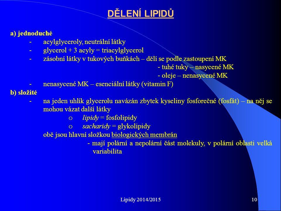 DĚLENÍ LIPIDŮ a) jednoduché acylglyceroly, neutrální látky