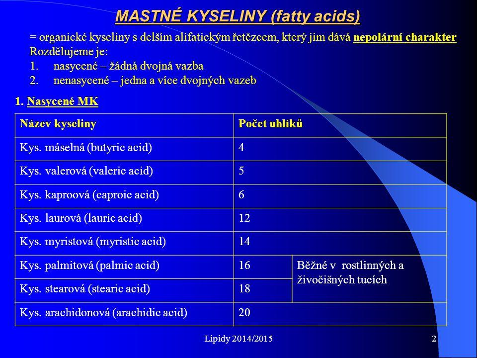 MASTNÉ KYSELINY (fatty acids)