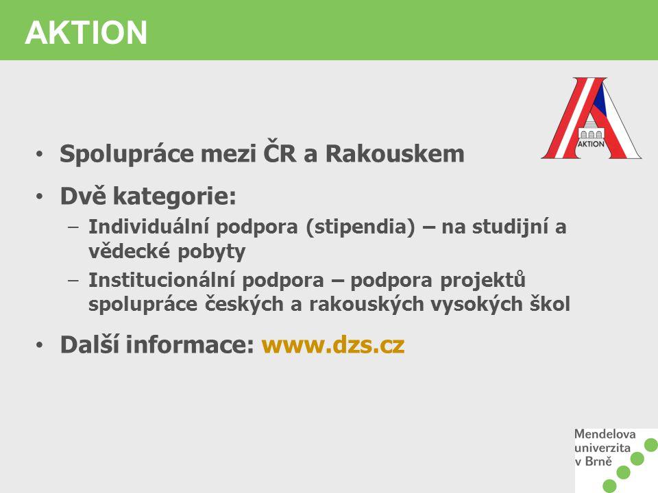 AKTION Spolupráce mezi ČR a Rakouskem Dvě kategorie:
