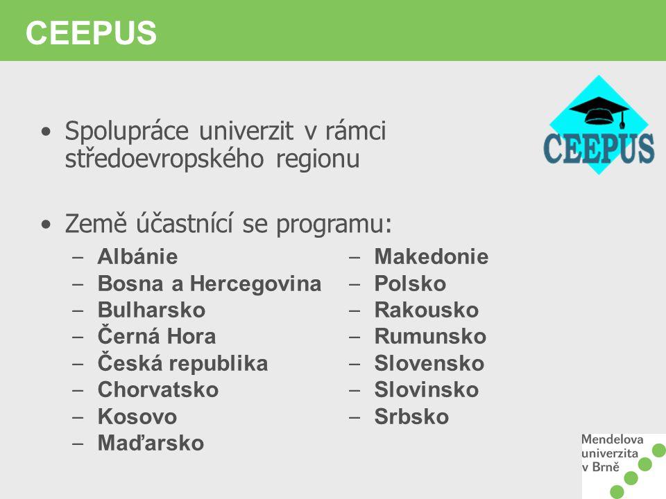 CEEPUS Spolupráce univerzit v rámci středoevropského regionu