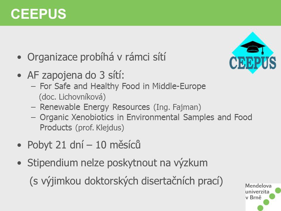 CEEPUS Organizace probíhá v rámci sítí AF zapojena do 3 sítí: