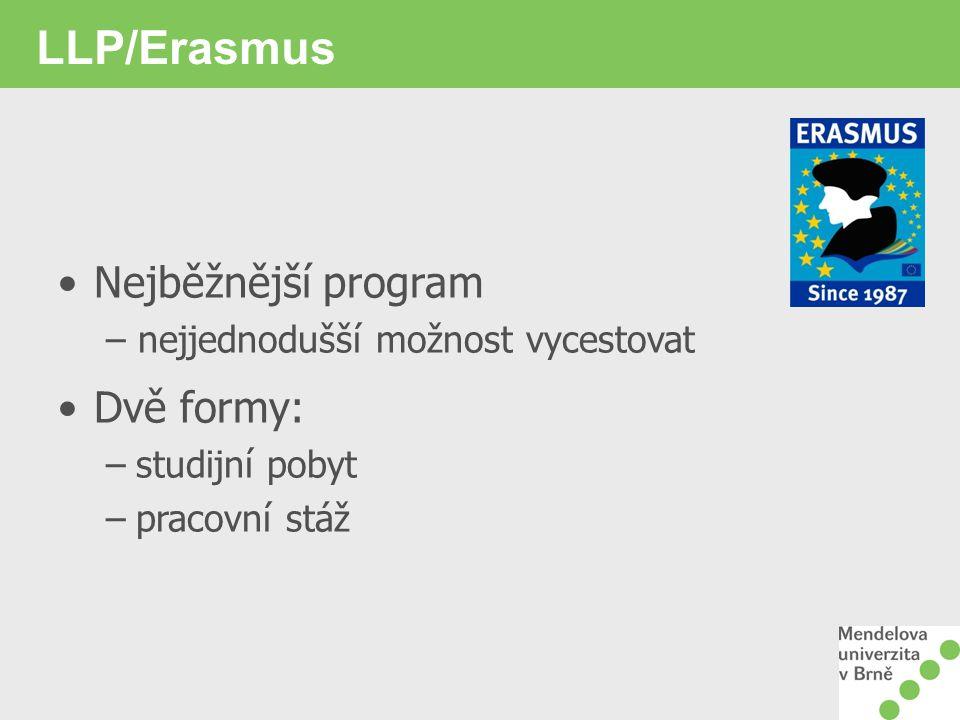 LLP/Erasmus Nejběžnější program Dvě formy: