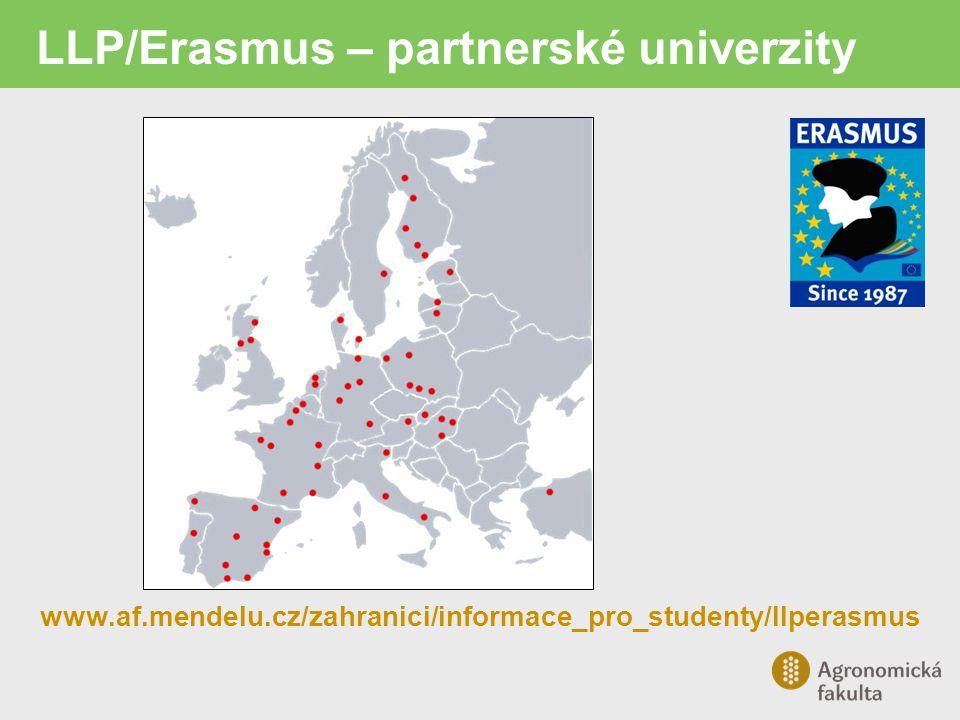 LLP/Erasmus – partnerské univerzity