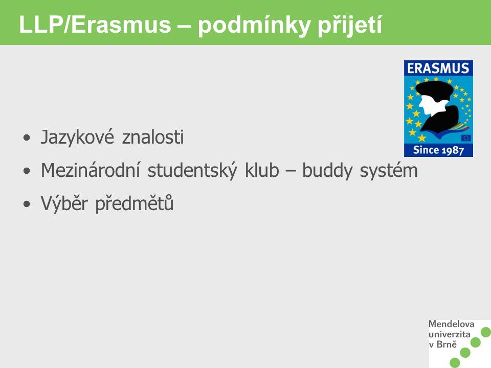 LLP/Erasmus – podmínky přijetí