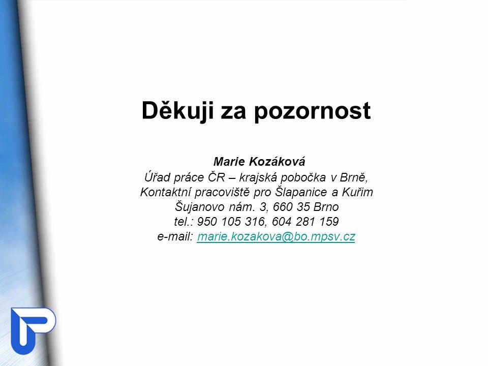Děkuji za pozornost Marie Kozáková Úřad práce ČR – krajská pobočka v Brně, Kontaktní pracoviště pro Šlapanice a Kuřim Šujanovo nám.