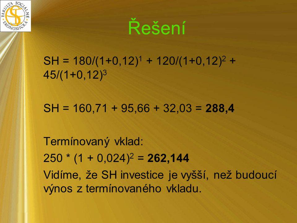 Řešení SH = 180/(1+0,12)1 + 120/(1+0,12)2 + 45/(1+0,12)3
