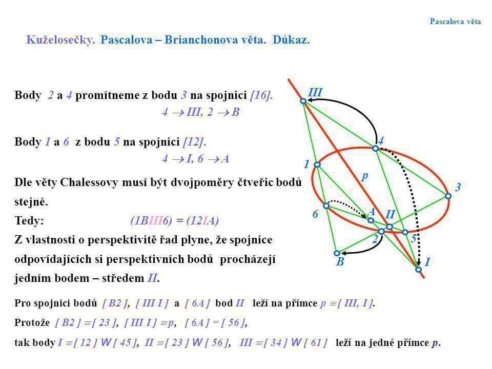 Kuželosečky. Pascalova – Brianchonova věta. Důkaz.