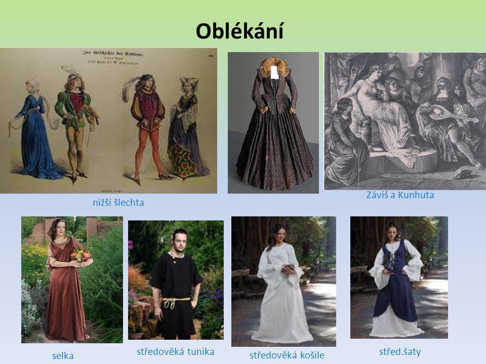 Oblékání Záviš a Kunhuta nižší šlechta středověká tunika střed.šaty