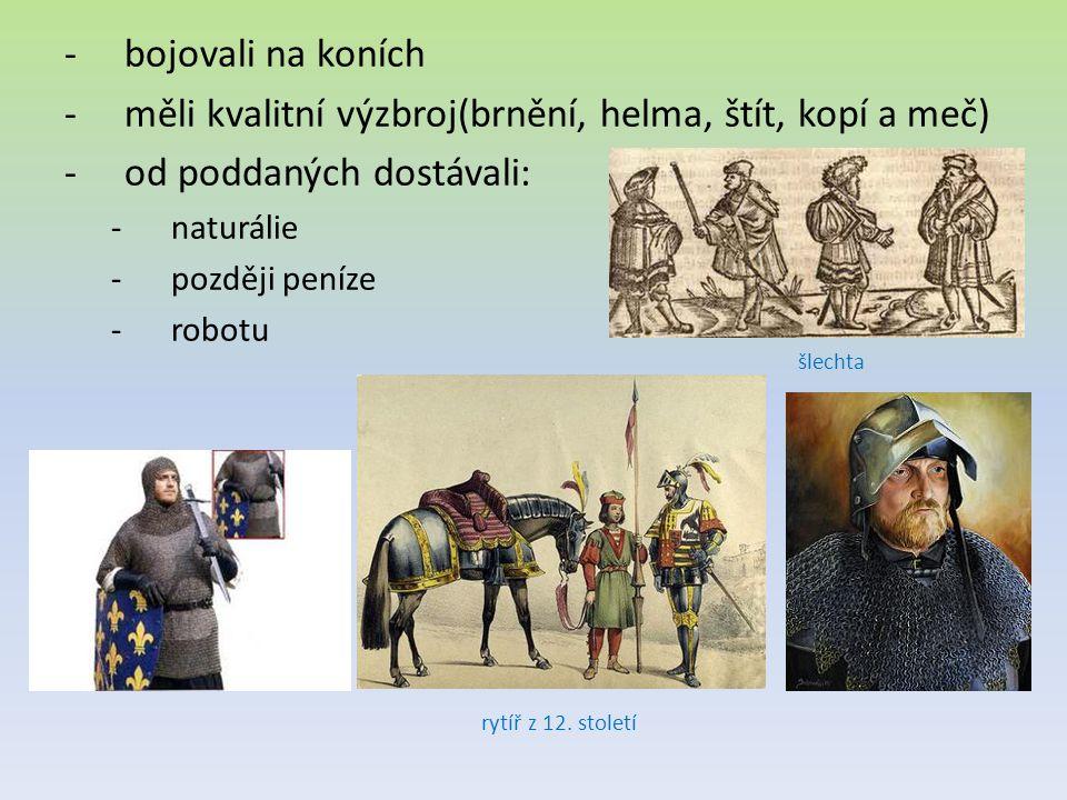 měli kvalitní výzbroj(brnění, helma, štít, kopí a meč)