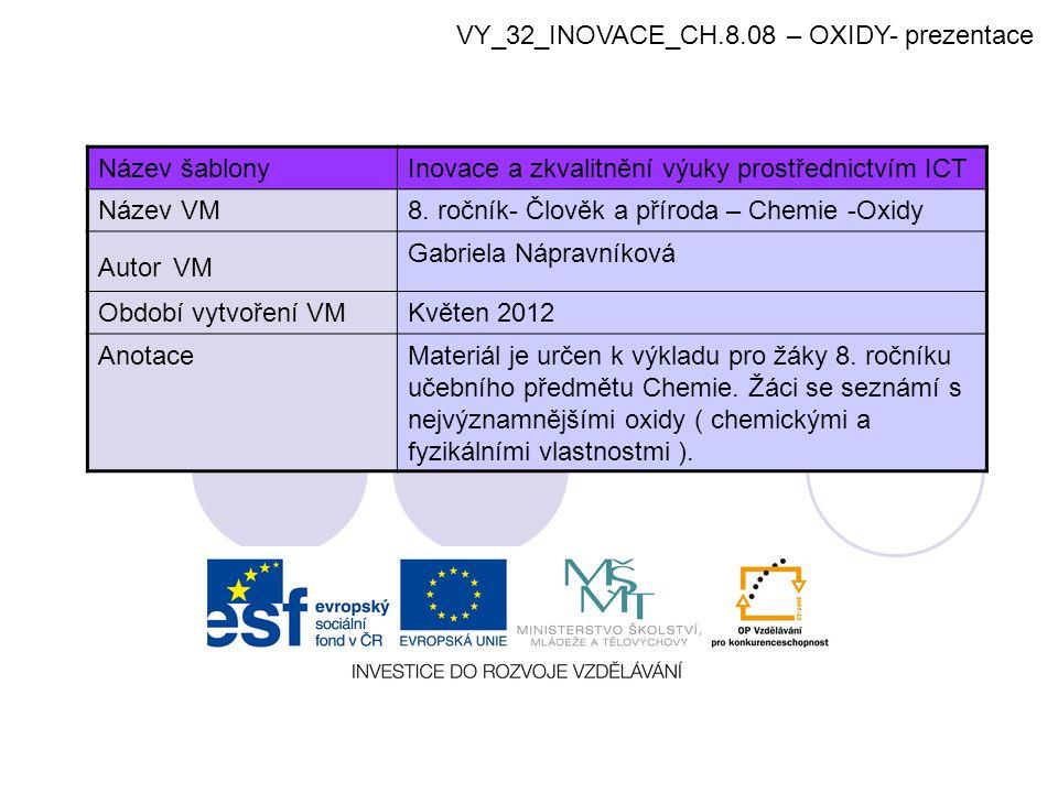VY_32_INOVACE_CH.8.08 – OXIDY- prezentace
