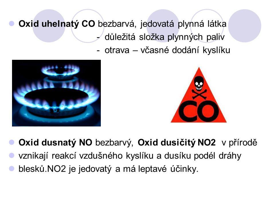 Oxid uhelnatý CO bezbarvá, jedovatá plynná látka
